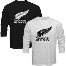New Tee T-Shirt New Zealand All Blacks National Rugby Union Team Mens Long Sleeve