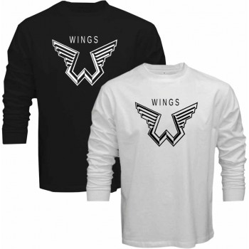 New T Shirt Paul Mccartney Wings Logo The Beatles Symbol Long Sleeve Tee Size S 6XL