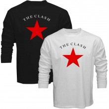 New T-Shirt The Clash Classic Star Punk Rock Band Logo Long Sleeve Tee S-5XL