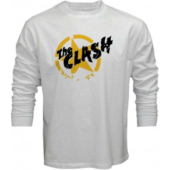 New T-Shirt The Clash Punk Rock Band Logo Mens Long Sleeve Tee Sz S To 5XL